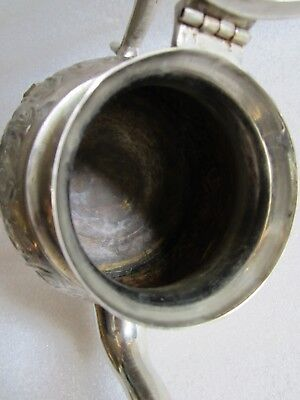 Rare Antique Moroccan Arabic Islamic Handmade Silver Alloy Tea Pot Kettle Signed 9