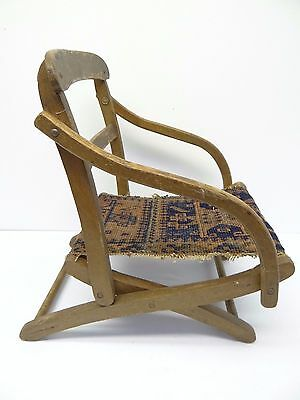 Antique Wood Wooden Blue & Red Oriental Prayer Rug Seat Kids Childrens Chair 3