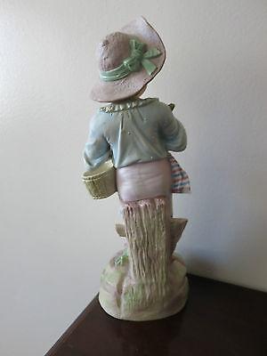 "Antique German  Hand Painted Bisque Rudolstadt Rustic Romantic Figurine 13"" Tall 4"