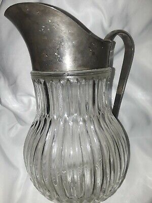 Vintage Italy Silver Plate Ribbed Crystal Glass Water Ice Pitcher Lipped Barware 10
