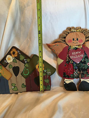 Wooden Yard Folk Art Lawn Or Patio Decorations Bird Houses And  A Holiday Angel 10