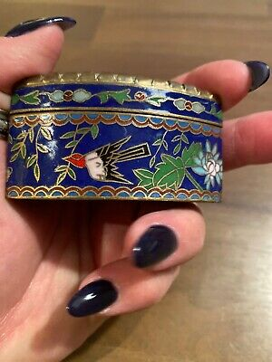 Chinese Cloisonne Pill Box With Hand Painted Stone Lid-2 1/2 Inches At Widest 5