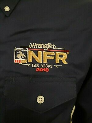 NWT Wrangler NFR BLUE Logo Rodeo Western Embroidered Long Sleeve. Shirt S
