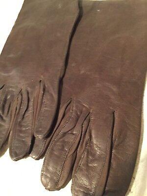 Vintage UNUSED Ladies Dark BROWN Fine Leather Gloves Duragluv Yeovil & Letter 5