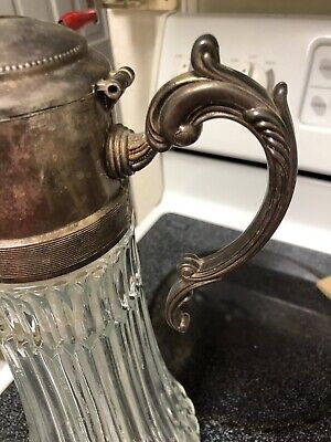 Vintage Tall Glass & Silverplate Iced Beverage Serving Carafe Pitcher 8