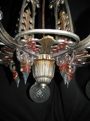 Antique Art Deco Victorian Cast Metal Chandelier Ceiling Light Fixture 20's 6