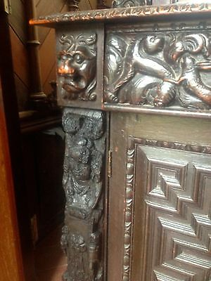17th Century Carved Oak Library Bookcase Flemish Lion Head Pussy Oak Angels Pray 10