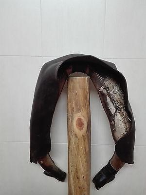 Antigua Collera de piel para mula, yugo o collaron. Decoracion rustica o rural. 4