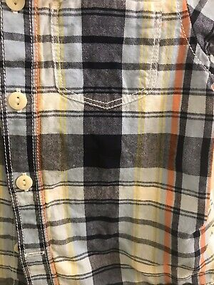 EUC Baby GAP Boys S/S Blue/Navy/Orange Button Den Shirt, Size 18-24M 4