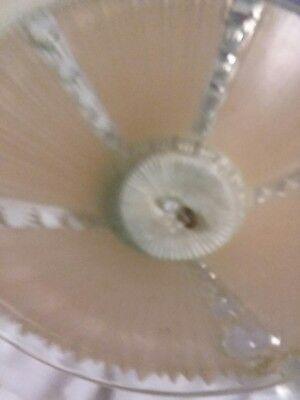 Vtg Deco Era Semi Flush Glass Shade Chandelier 1930s PEACH/CLEAR RIBBED MOTIF 11 6