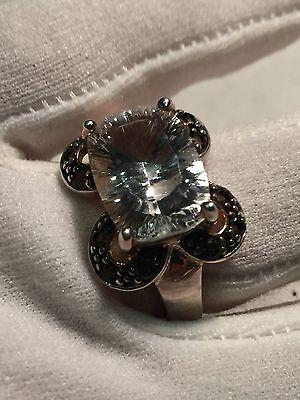 Vintage Genuine Clear Quartz Smoky Topaz 925 Sterling Silver Size 8 Ring 5
