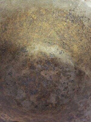 """Antique Cast Iron Bean Pot Cowboy Kettle Cauldron 3 Foot bail Handle 10"""" diam A5 8"""