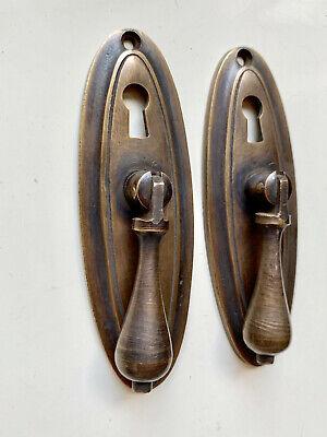 "2 oval drop Pull knob pulls handles 4"" brass door key hole vintage old style B 3"