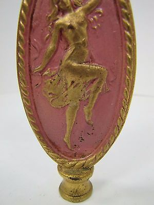 Antique Art Nouveau Finial partially nude dancing lady nymph brass gold pink 4