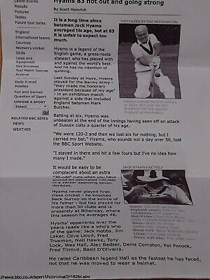 Autograph Jack Hyams Legendary English Cricketer ORIGINAL SIGNATURE 2