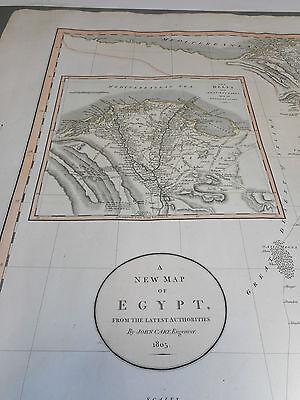 100% Original Large Egypt  Map By John Cary C1805 Vgc Original Colour