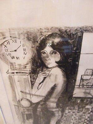 Lithografie von Martinez Probedruck Mädchen Ausgezogen Paris 2