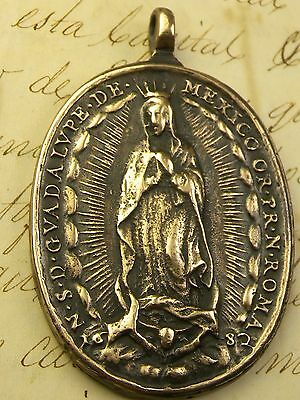Antique Spanish Colonial Catholic Our Lady of Guadalupe Shrine 1682 Medal 7