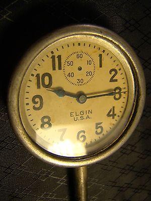 Vintage Elgin Car Clock Pocket Watch Long Stem Case Face Glass Parts or Repair 4