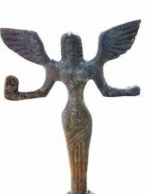 Ancient Greek Bronze Museum Statue Replica Of Athena Wth A Spear And Winged Nike 3