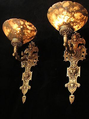 wall light sconces angel faces  solid cast bronze custom made by local artist 3