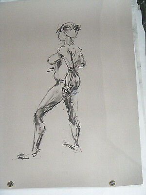 Figure life drawing nude expressive, charcoal / paper, woman standing, A1 size @ 5
