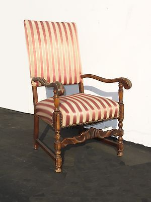 Antique Red & White Striped Silk Accent Arm Chair Floral Design Carved Wood 2