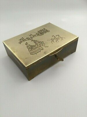 Alte Kassette Schatulle Erhard & Söhne Brass Box Greyhound Coach 3