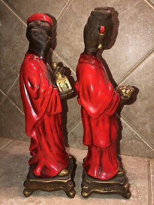 Vintage Asian Oriental Far East Figurines Man And Woman Glossy Red Robes - Rare! 4
