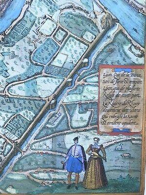 Old Antique Historic Map Lyon, France: 1572 Braun & Hogenberg REPRINT 1500's 6