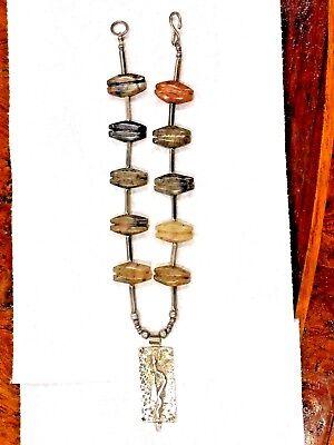 Antique Pre Columbian Jade & Silver Necklace Pendant Snag Design 4
