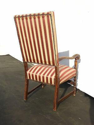 Antique Red & White Striped Silk Accent Arm Chair Floral Design Carved Wood 4