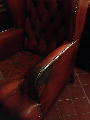 Good Wing Back Chesterfield Style Leather Oxblood Red Vintage Armchair Button 12