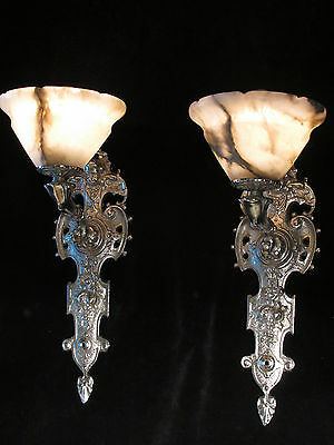 wall lights pair silver plate SOLID BRONZE & REAL ALABASTER INDUSTRIAL LIGHTS 7