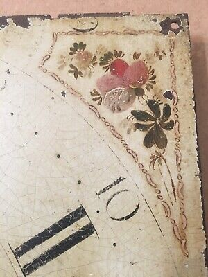 Antique Hand Painted Flower Decorated Iron Grandfather Clock Dial C. 1800's 2