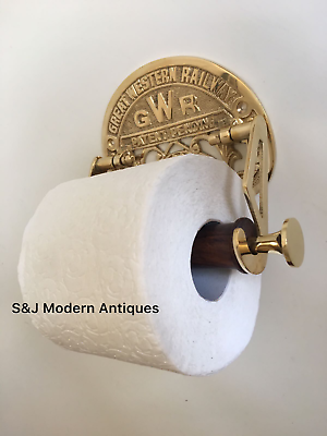 Victorian Toilet Roll Holder Gold Brass Unusual Novelty GWR Vintage Ornate Old 5