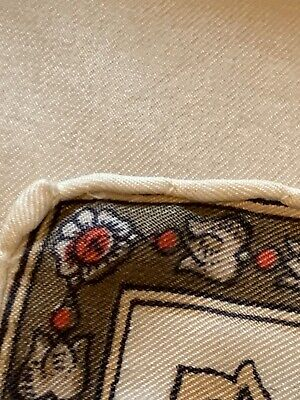 Vtg 80s Italian Silk Scarf Cream W/Brown Red Cluster Border Chariot Ships Wheel 12