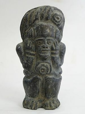 "Antique Pre-Columbian Guatemala Seated Shaman Figure ~ 6"" 12"