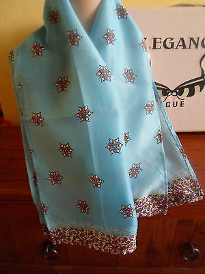 1 NEW Colourful Mixed Fibre Ladies Scarf BLUE & SNOWFLAKE DETAIL ~ Gift Idea #66 2