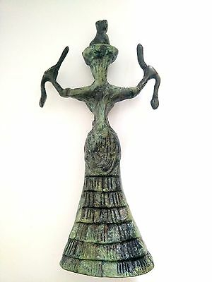 Ancient Greek Bronze Museum Statue Replica Of The Snake Goddess Collectable 1250 6