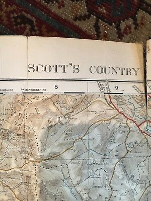 "Ordance Survey Map Tourist Map Of Scott's Country Scotland 1"" to 1 Mile 4"