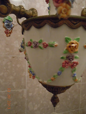 French Porcelain BARBOLA ROSES & SWAGS Chandelier with Hanging Rose Bouquets 8