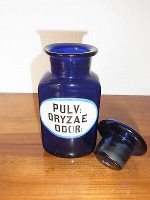 Seltene Apothekenflasche PULV: ORYZAE ODOR 19.Jh. Kobaltblau. 5