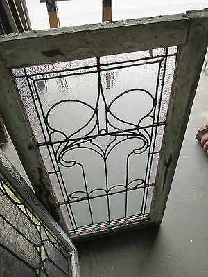~ ANTIQUE AMERICAN STAINED GLASS WINDOW ~ 22.75 x 43 ~ ARCHITECTURAL SALVAGE ~ 12