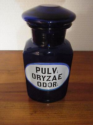Seltene Apothekenflasche PULV: ORYZAE ODOR 19.Jh. Kobaltblau. 2