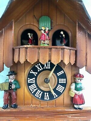 Vintage Hand Made Wooden Regula Musical Dancers Wheel Cuckoo Clock Germany 4