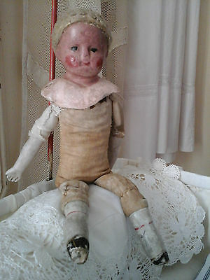 Rare Antique French Boudoir Mannequin Doll~Primitive Porcelain/Linen Textil 1800 3