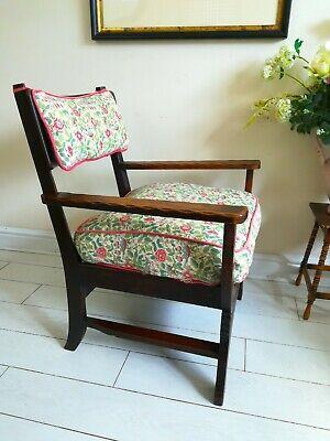 Rare Antique Arts & Crafts Oak Chair Liberty Style X frame bentwood Unique. 9