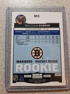 2015-16 O-pee-chee Platinum Marquee Rookie Malcolm Subban  - Boston Bruins 2