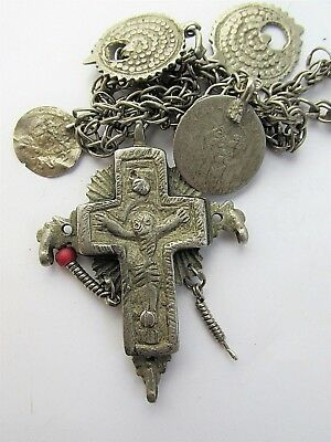 Ancient Byzantine Medieval Cross Crucifix silver alloy, pendant 6